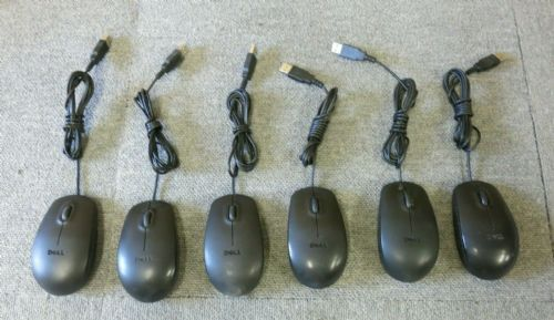 6 x Dell MS111P Black USB Wired 3 Button Optical Scroll Wheel Mouse